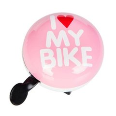 Звонок Green Cycle GBL-458 I love my bike диаметр 80 мм Pink