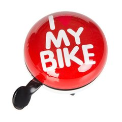 Звонок Green Cycle GBL-458 I love my bike диаметр 80 мм Red